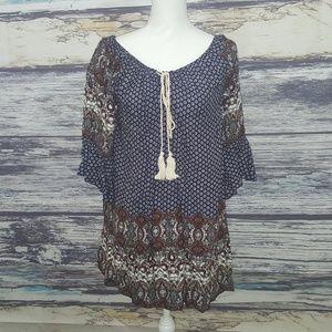 Umgee peasent boho style tunic / mini dress size s